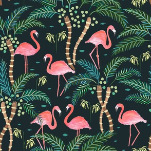Watercolour flamingoes Dark