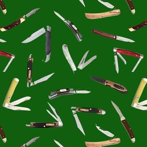 Pocket Knives on Dark Green // Small