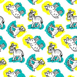 1950's Style Sheep Goat and Donkey in Yellow and Turquoise