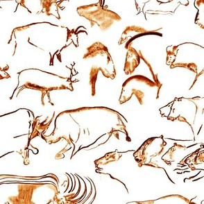 Chauvet Cave Art in Tawny Orange // Small