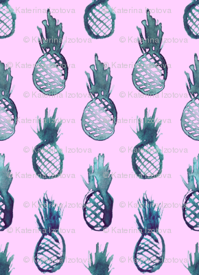 Indigo pineapples on pink || cute tropical pattern for nursery