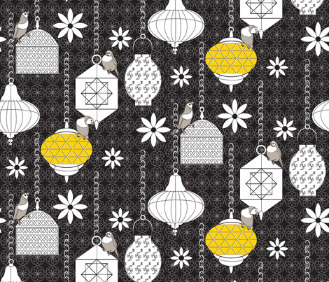 A Night in Marrakech black fabric by colour_angel_by_kv on Spoonflower - custom fabric