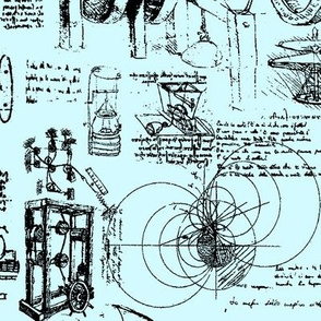 D Vinci's Sketchbook //  Light Blue // Large