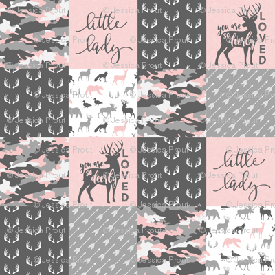 "(3"" small scale) You are so deerly loved / little lady - pink and grey camo - woodland patchwor"