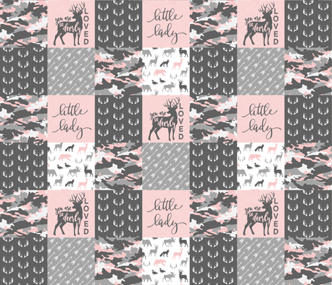"(3"" small scale) You are so deerly loved / little lady - pink and grey camo - woodland patchwor fabric by littlearrowdesign on Spoonflower - custom fabric"