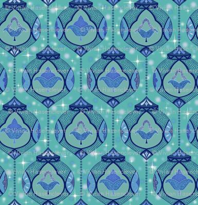 sparkling moroccan lamps - aqua