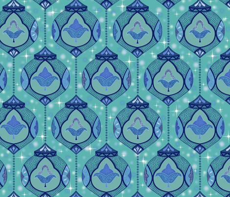 sparkling moroccan lamps - aqua fabric by vivdesign on Spoonflower - custom fabric