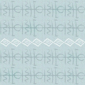 Bohemian glyph symbols light blue cloth