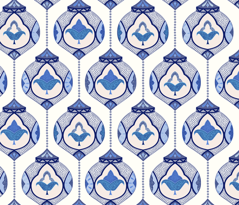 moroccan lamps - blue and white fabric by vivdesign on Spoonflower - custom fabric