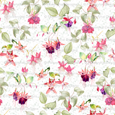 FUCHSIA FLOWERS ON WHITE WATERCOLOR GARDEN