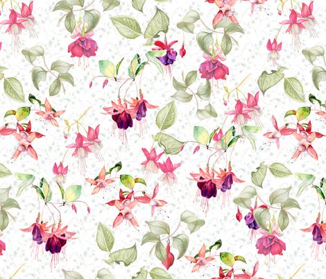 FUCHSIA FLOWERS ON WHITE WATERCOLOR GARDEN fabric by floweryhat on Spoonflower - custom fabric