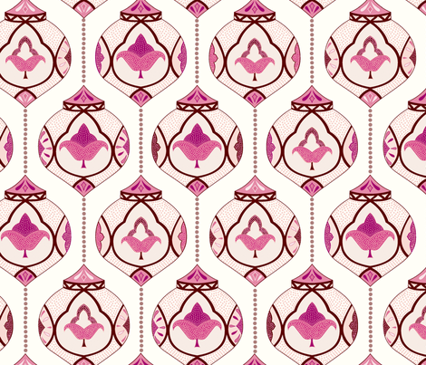 moroccan lamps - pink and cream fabric by vivdesign on Spoonflower - custom fabric