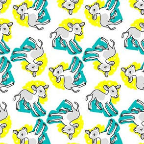 1950's Style Calf Baby Cow in Yellow and Turquoise