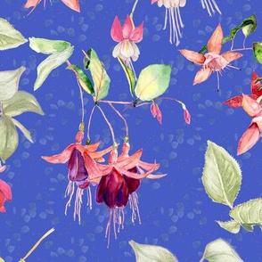 FUCHSIA FLOWERS WATERCOLOR GARDEN ON PERIWINKLE BLUE