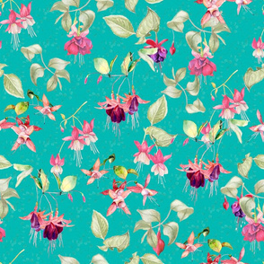 FUCHSIA FLOWERS WATERCOLOR GARDEN ON TURQUOISE AQUA