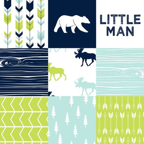 Bear Creek Patchwork Quilt Top || Little man with navy bear