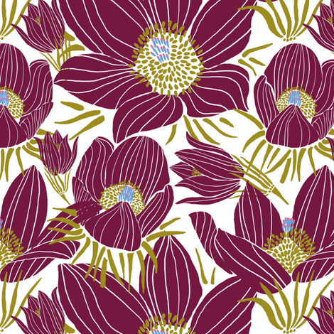 Arctic Beet-Red Pasque flowers (white) fabric by helenpdesigns on Spoonflower - custom fabric