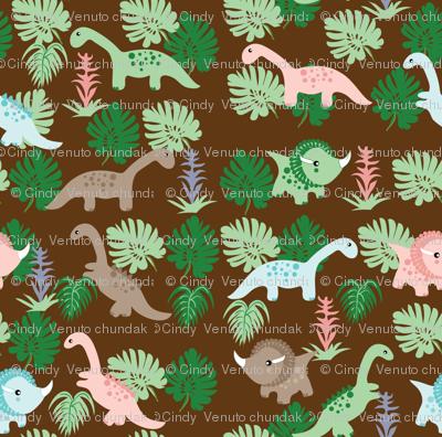 Pastel Dino on brown,  Dinosaurs, Kids fabric, Children