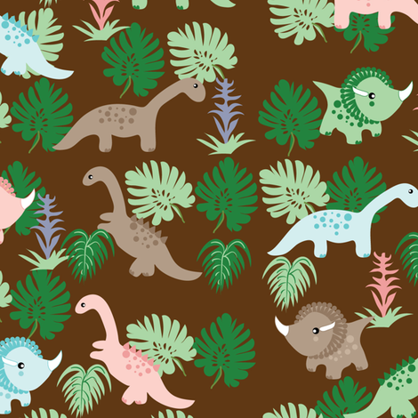 Pastel Dino on brown,  Dinosaurs, Kids fabric, Children fabric by applebutterpattycake on Spoonflower - custom fabric