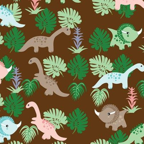 Pastel Dino on brown,  Dinosaurs, Kids fabric, Children