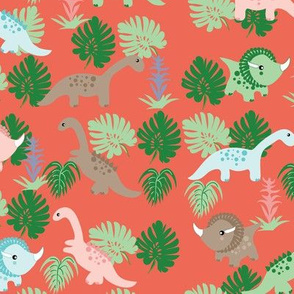 Pastel Dino on Peach, kids fabric, childrens fabric, cute dinosaurs