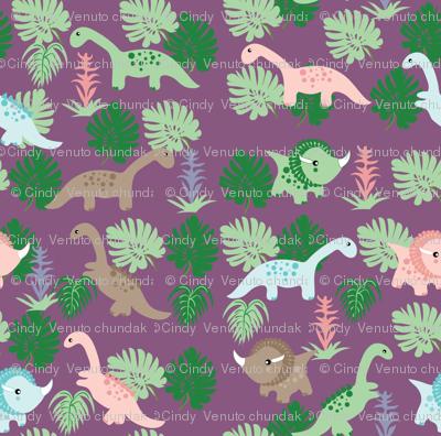PastelDino on Purple, Cute Dinosaurs, kids fabric, childrens fabric