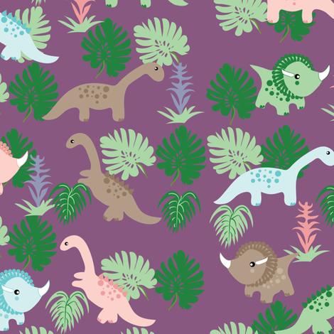 PastelDino on Purple, Cute Dinosaurs, kids fabric, childrens fabric fabric by applebutterpattycake on Spoonflower - custom fabric