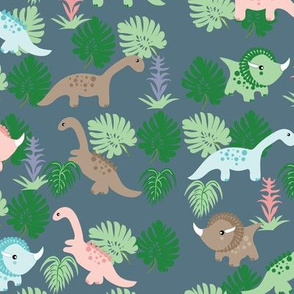 PastelDino on Slate Blue, Cute Dinosaurs, Kids fabric, children's fabric