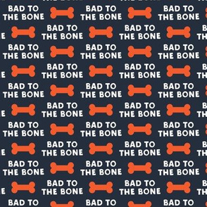 bad to the bone - red on blue w/ dog bone