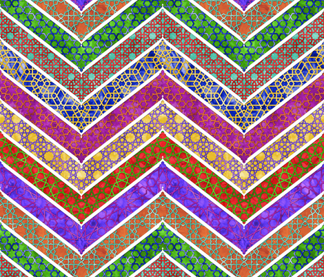 Moroccan Watercolor Lattice Chevron fabric by wickedrefined on Spoonflower - custom fabric