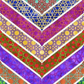 Moroccan Watercolor Lattice Chevron