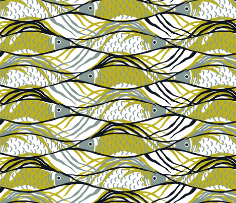 OneFish2Fish-olive fabric by elizabeth_hale_design on Spoonflower - custom fabric