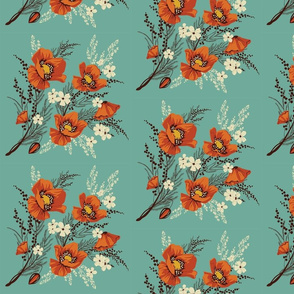 Red Flowers on Teal
