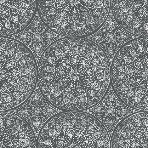 Cycling Mandalas (white-charcoal) fabric by helenpdesigns on Spoonflower - custom fabric