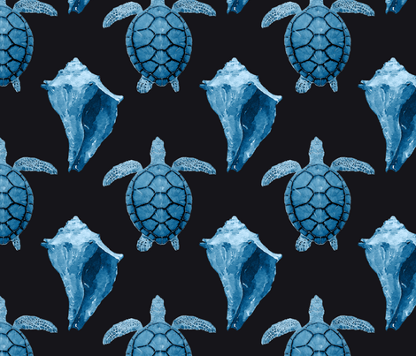 Blue Sea Turtles & Conch Shell on Black fabric by lauriekentdesigns on Spoonflower - custom fabric