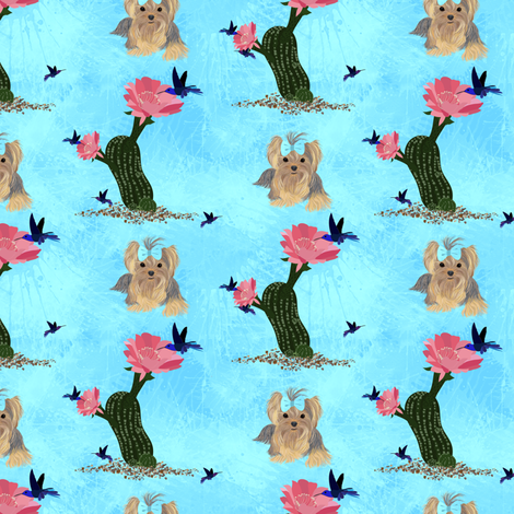 "Beachy Southwestern Yorkie 1"" fabric by sherry-savannah on Spoonflower - custom fabric"