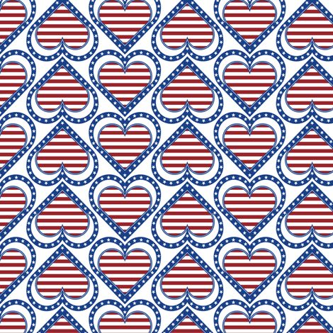 Patriotic Hearts & Stripes fabric by jjtrends on Spoonflower - custom fabric