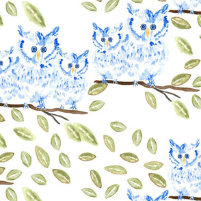 Happy Owl Blue Watercolor Leaves-01