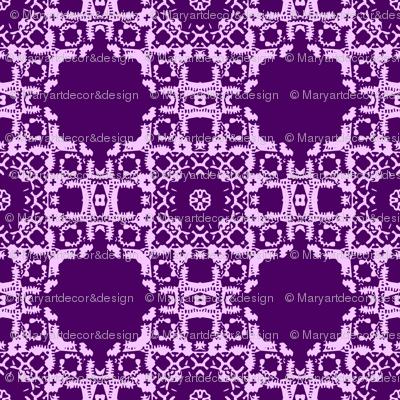 Stamp Print Purple Floral