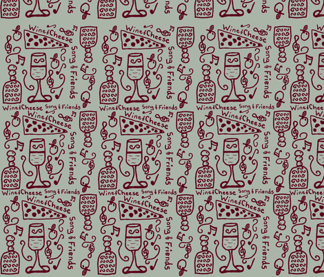 Wine Cheese Friends Song fabric by fabric_is_my_name on Spoonflower - custom fabric