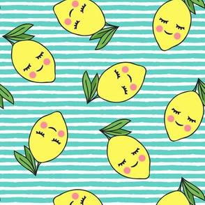 happy lemons - teal stripes