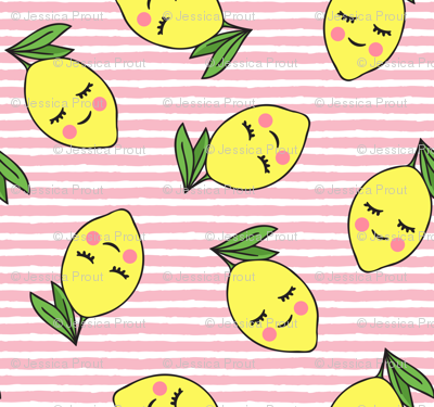 happy lemons - light pink stripes