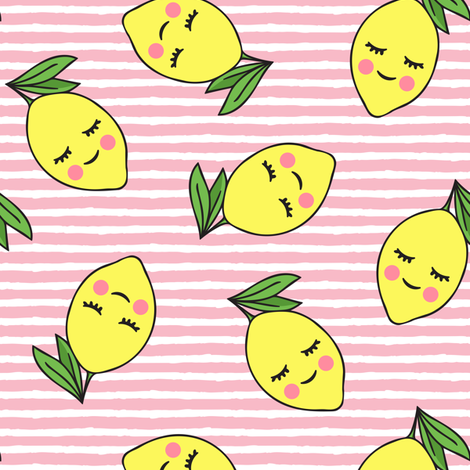 happy lemons - light pink stripes fabric by littlearrowdesign on Spoonflower - custom fabric