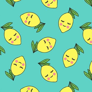 happy lemons on teal