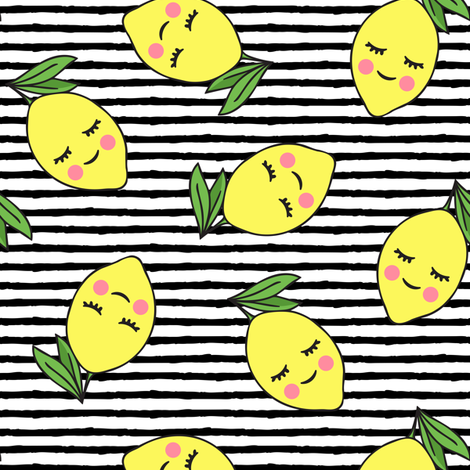 happy lemons - black stripes fabric by littlearrowdesign on Spoonflower - custom fabric