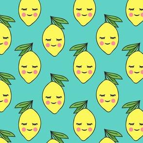 happy lemons on teal
