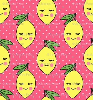 happy lemons - pink 3 with polka dots