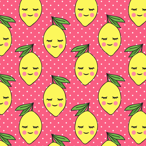 happy lemons - pink 3 with polka dots fabric by littlearrowdesign on Spoonflower - custom fabric