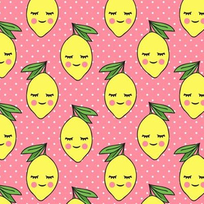 happy lemons - pink 2 with polk dots