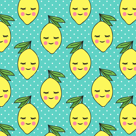 happy lemons - teal with polka dots fabric by littlearrowdesign on Spoonflower - custom fabric